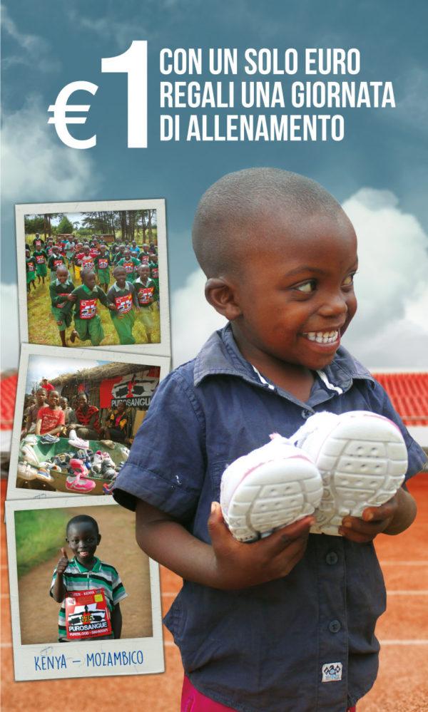 Un bambino africano sorridente, ha in mano un paio di scarp donatgli dal progetto Purosangue Shoes sharing